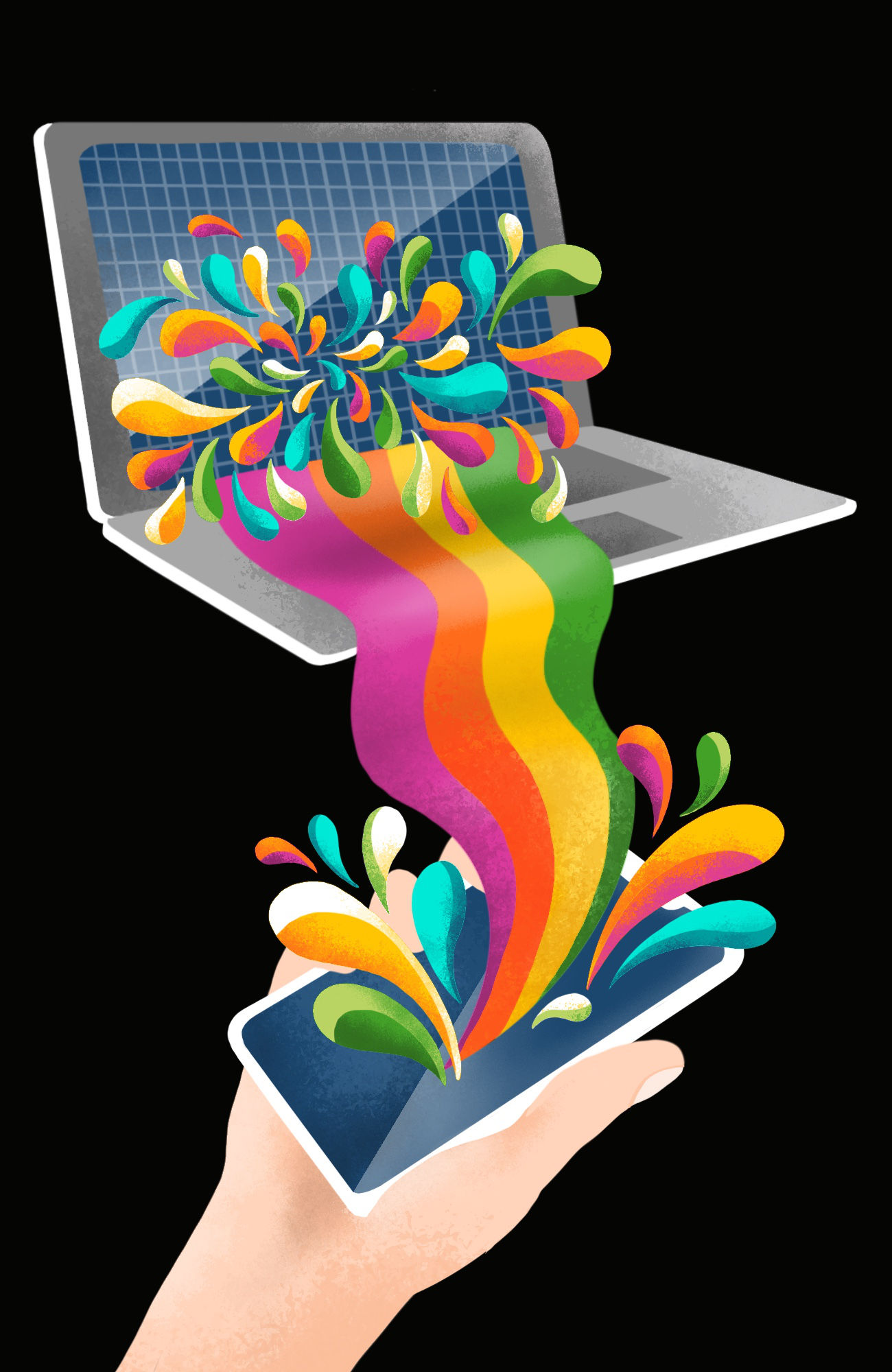 Rainbow paint pouring out of a laptop into a mobile device, representing software built to work on all screen sizes